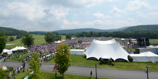 The 2014 Hall of Fame Induction Ceremony attracted a crowd of more than 48,000 fans to Cooperstown. (Milo Stewart Jr./National Baseball Hall of Fame)