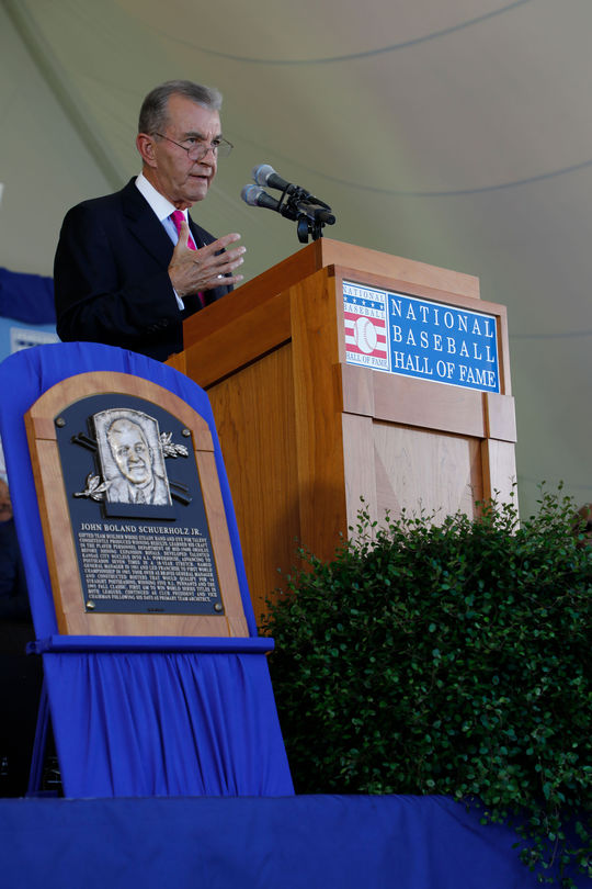 John Schuerholz led off the 2017 <em>Induction Ceremony</em> speeches after accepting his bronze plaque. (Milo Stewart Jr. / National Baseball Hall of Fame and Museum)