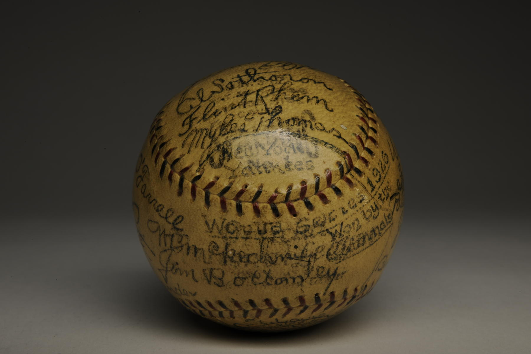 Baseball signed by players from both the New York Yankees and St. Louis Cardinals that participated in the 1926 World Series. B-174-55 (Milo Stewart Jr. / National Baseball Hall of Fame)
