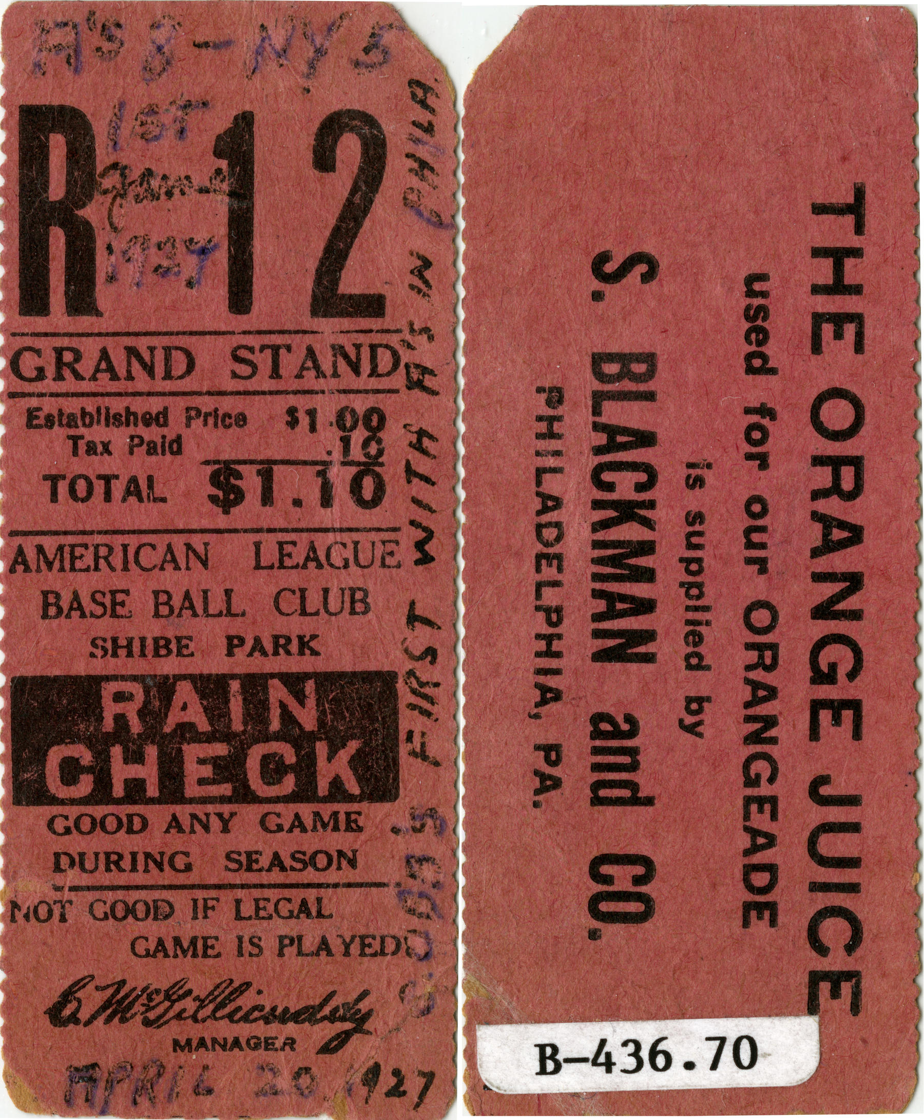 The front and back of a ticket from Ty Cobb's first game as a Philadelphia Athletic. B-436-70 (National Baseball Hall of Fame)
