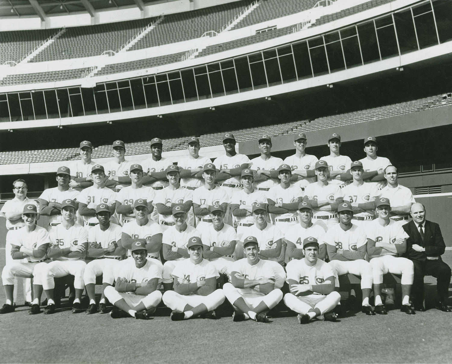 "Tommy Helms, who played for the Cincinnati Reds from 1964-1971, helped contribute to their National League pennant win in 1970. In this team photo from that year, Helms sits seventh from the left in the third row. <a href=""https://collection.baseballhall.org/PASTIME/cincinnati-reds-team-photograph-1970"">PASTIME</a> (National Baseball Hall of Fame and Museum)"