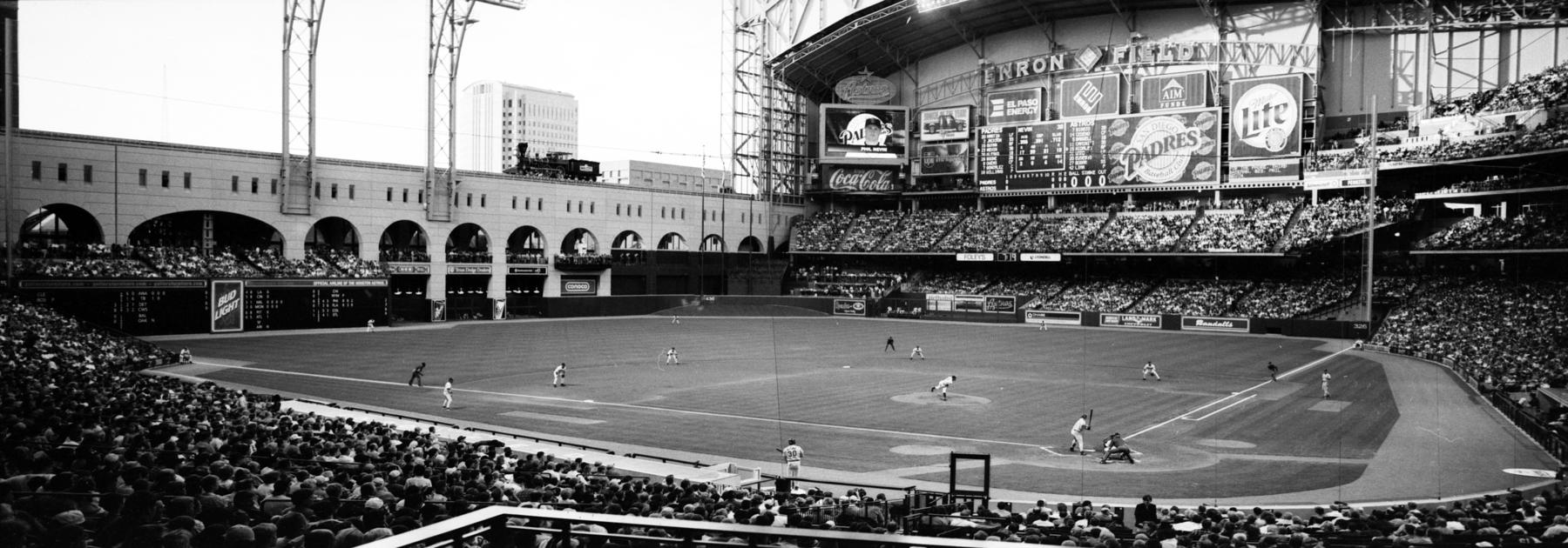 "A panoramic negative of Enron Field, now known as Minute Maid Park, taken on April 21, 2000. <a href=""https://collection.baseballhall.org/islandora/object/islandora%3A650218"">PASTIME</a> (Jim McKinnis/National Baseball Hall of Fame and Museum)"