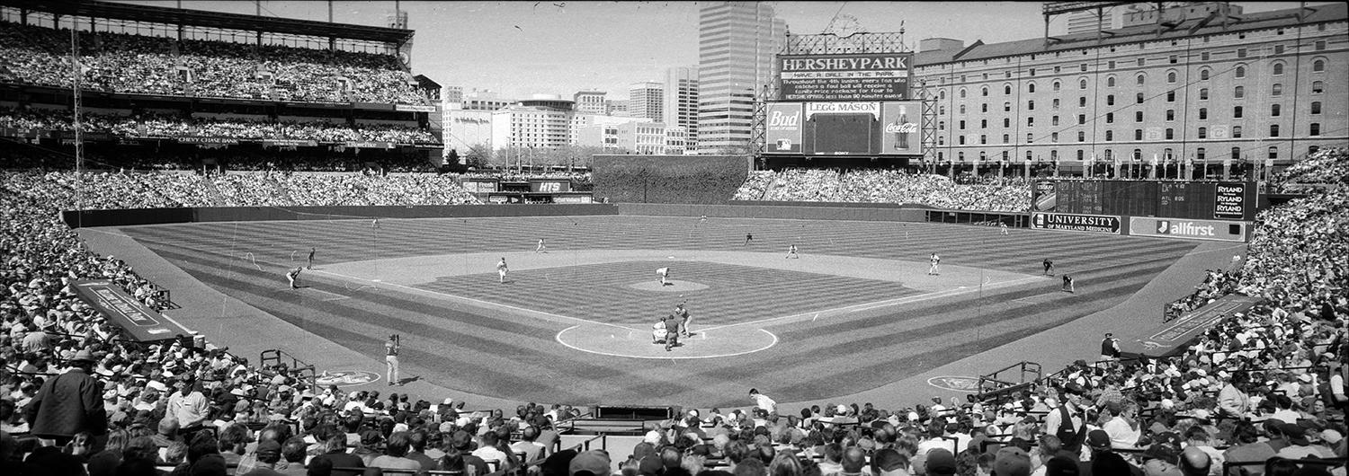 """This panoramic of Camden Yards is among the photos donated to the Hall of Fame by Jim McKinnis. <a href=""""https://collection.baseballhall.org/islandora/object/islandora%3A650223"""">PASTIME</a> (Jim McKinnis/National Baseball Hall of Fame and Museum)"""