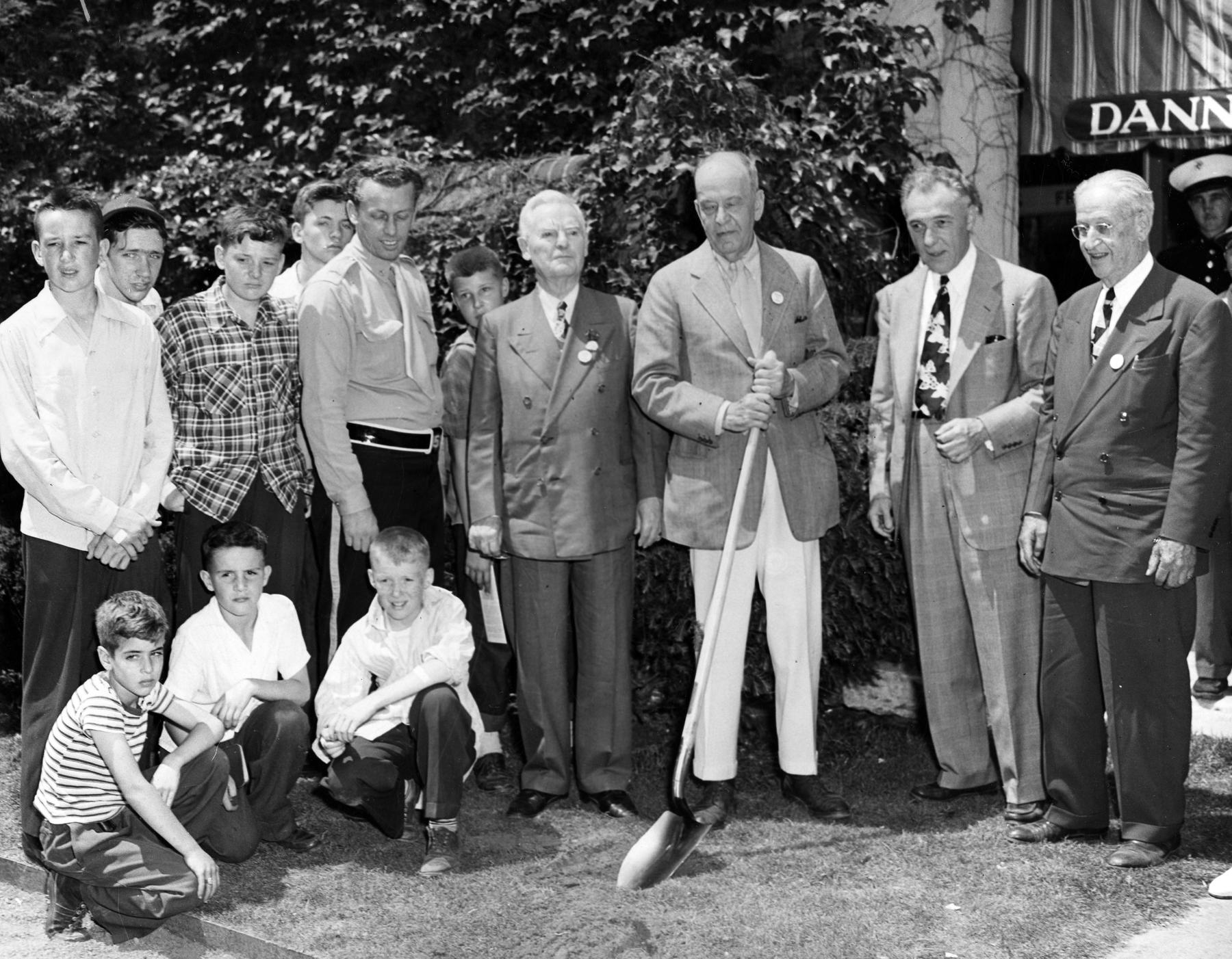 Stephen C. Clark (with shovel) at the groundbreaking for the Museum expansion (National Baseball Hall of Fame and Museum)