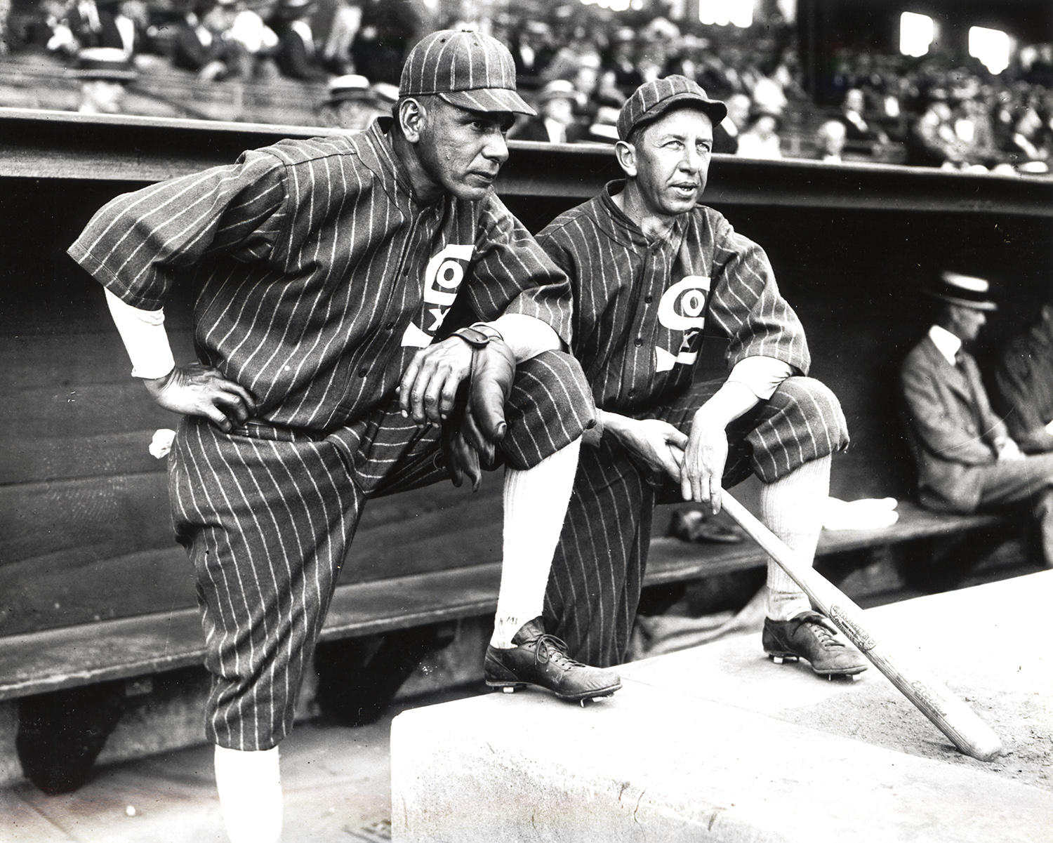 Eddie Collins (right) pictured above with fellow Hall of Famer Chief Bender, who played together on the Chicago White Sox in 1925. (National Baseball Hall of Fame and Museum)