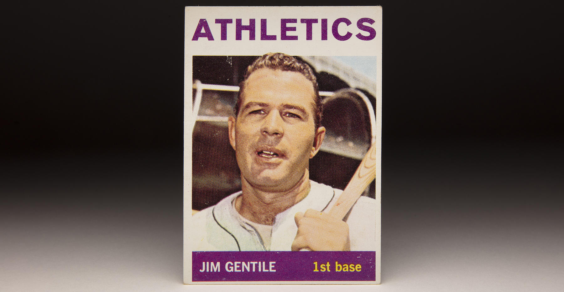 Jim Gentile's 1964 Topps card shows off his signature look during his time with the Athletics. (Topps baseball card photographed by Milo Stewart Jr./National Baseball Hall of Fame and Museum)