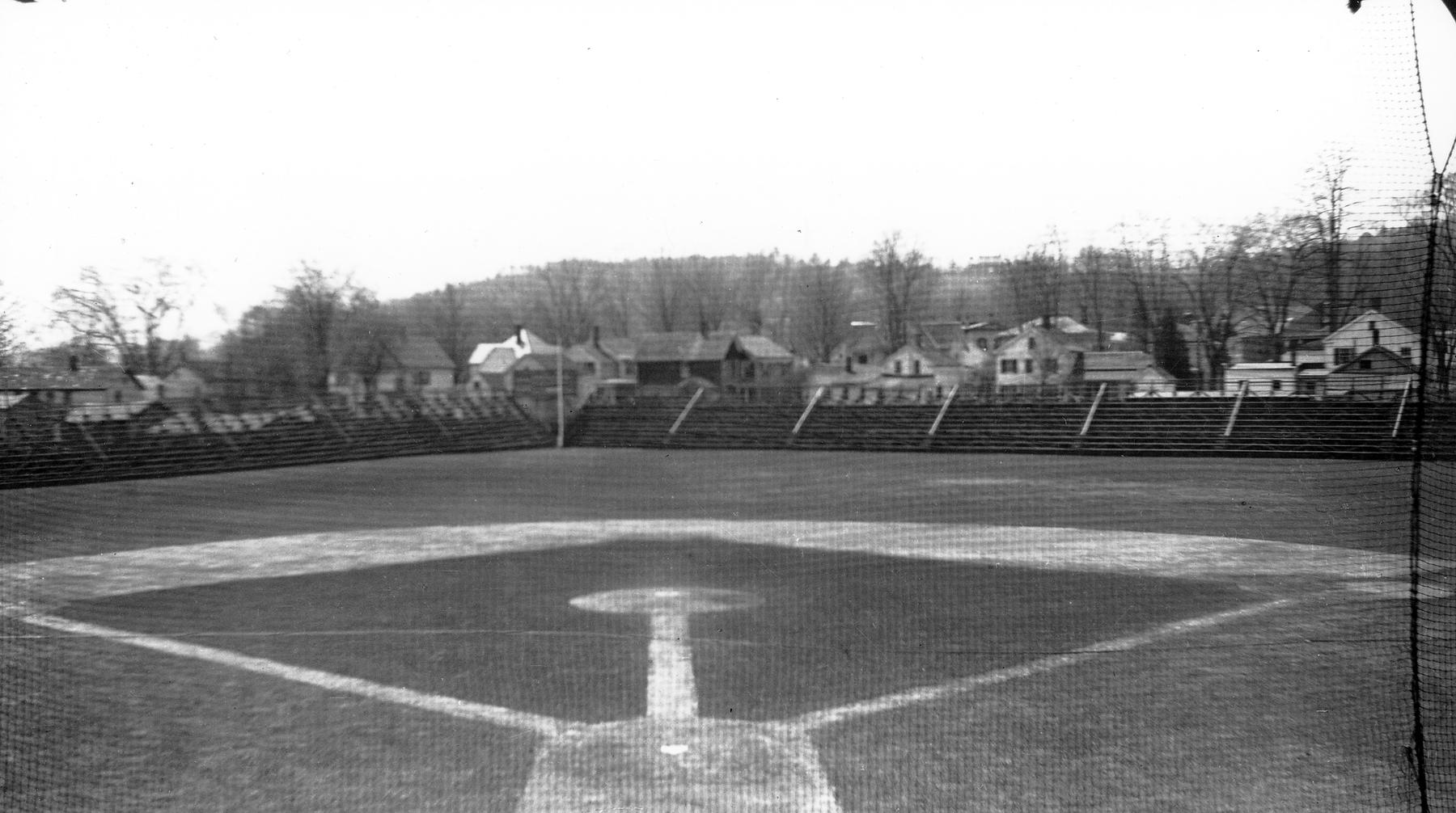 Cooperstown's Doubleday Field sits ready for the June 12, 1939, game as part of the inaugural Hall of Fame Weekend. (Homer Osterhoudt/National Baseball Hall of Fame and Museum)