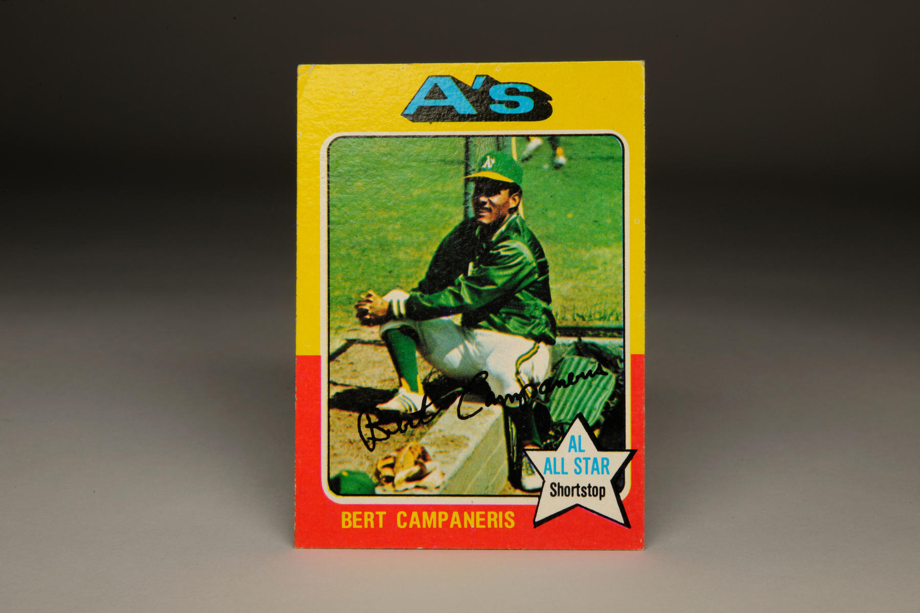 1975 Bert Campaneris Topps card, shot by Doug McWilliams. (Milo Stewart Jr. / National Baseball Hall of Fame)