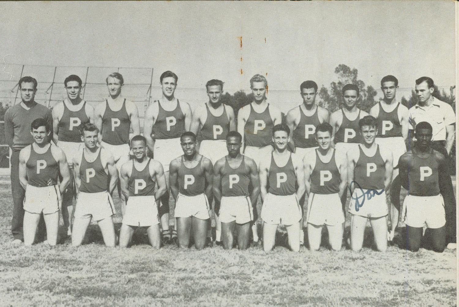 Jackie Robinson ran track for Pasadena Junior College from 1937-1938. He is pictured at the bottom row, far right. (National Baseball Hall of Fame and Museum)