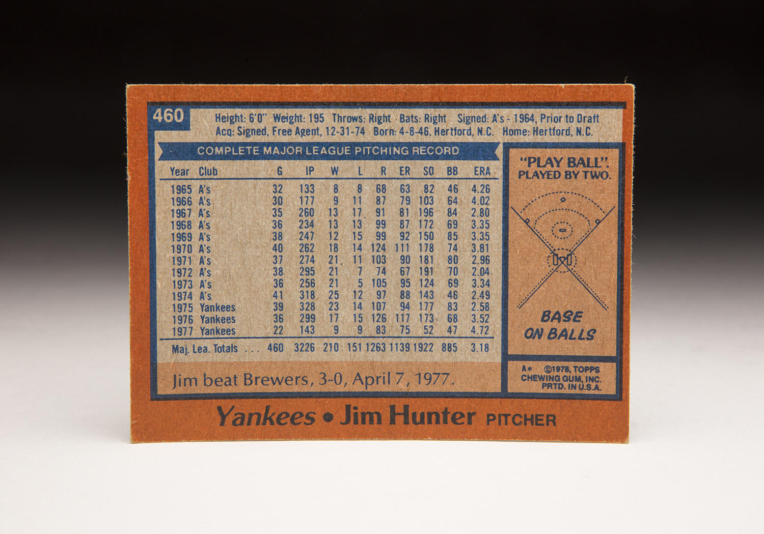 The reverse side of Catfish Hunter's 1978 Topps card. (Milo Stewart Jr./National Baseball Hall of Fame and Museum)