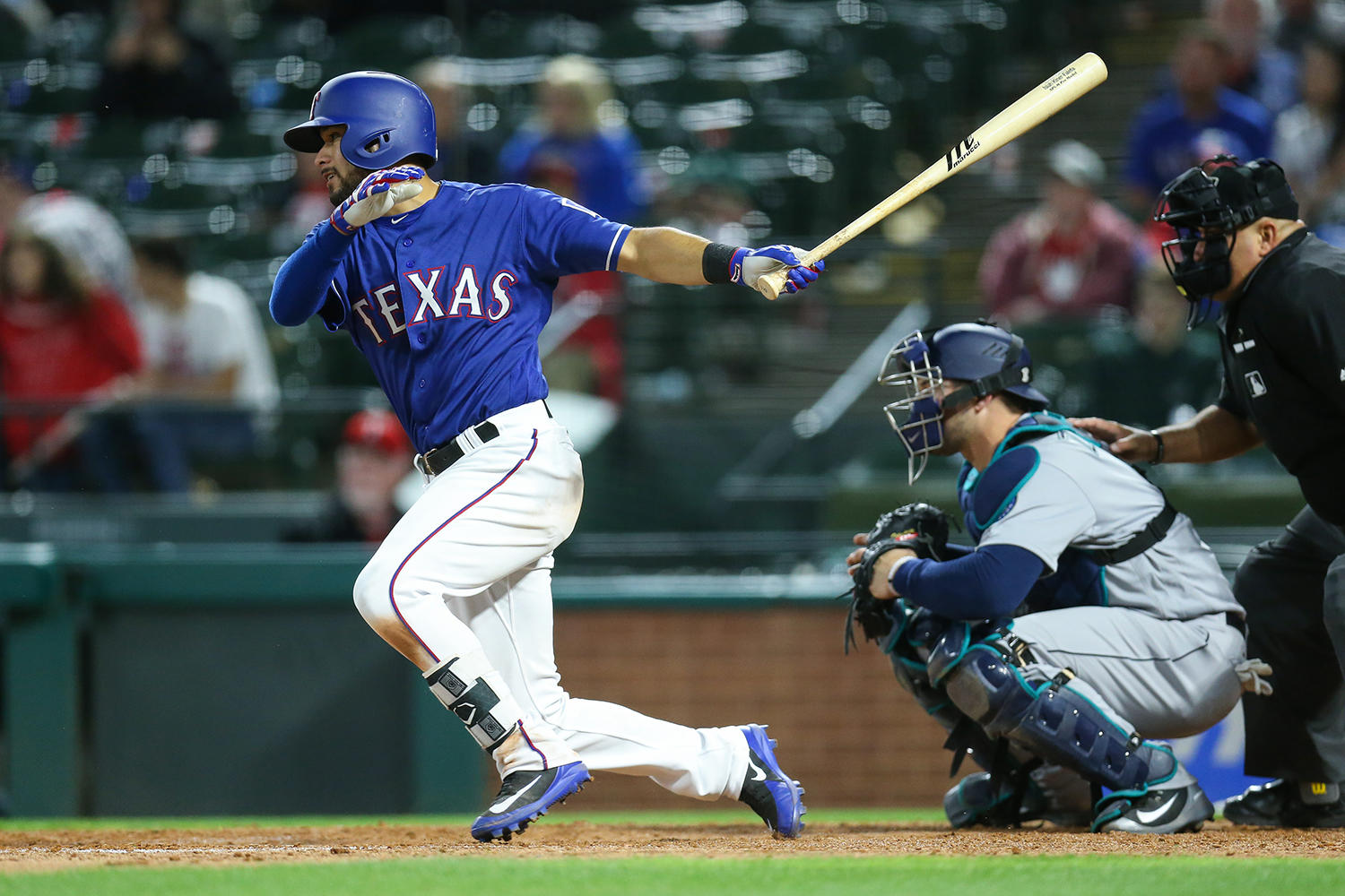 Former Round Rock Express infielder Isiah Kiner-Falefa donated the <em>Chupacabras</em> cap that he wore April 8 to the Baseball Hall of Fame. Two days later, Kiner-Falefa was called up to the Texas Rangers. (Kelly Gavin/Texas Rangers)