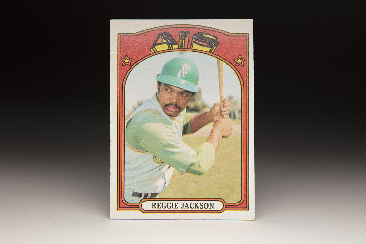 "The mustache Reggie Jackson sported in his 1972 Topps card sparks memories of Oakland's Mustache Gang, a trend started by Jackson which would develop into a promotion known as ""Mustache Day"" by A's. (Milo Stewart Jr. / National Baseball Hall of Fame and Museum)"