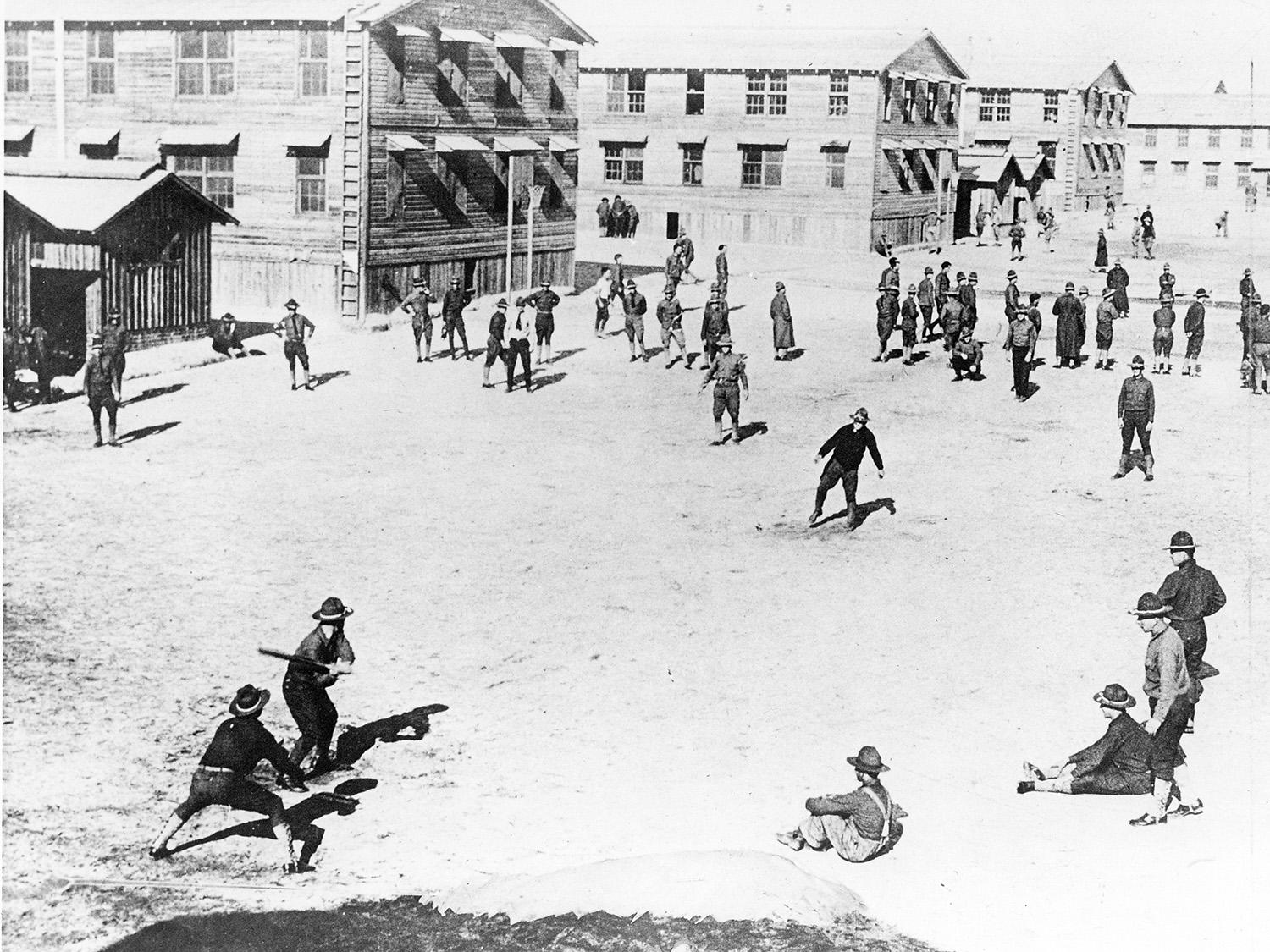 Pictured above, soldiers play recreational baseball during World War I. (National Baseball Hall of Fame and Museum)