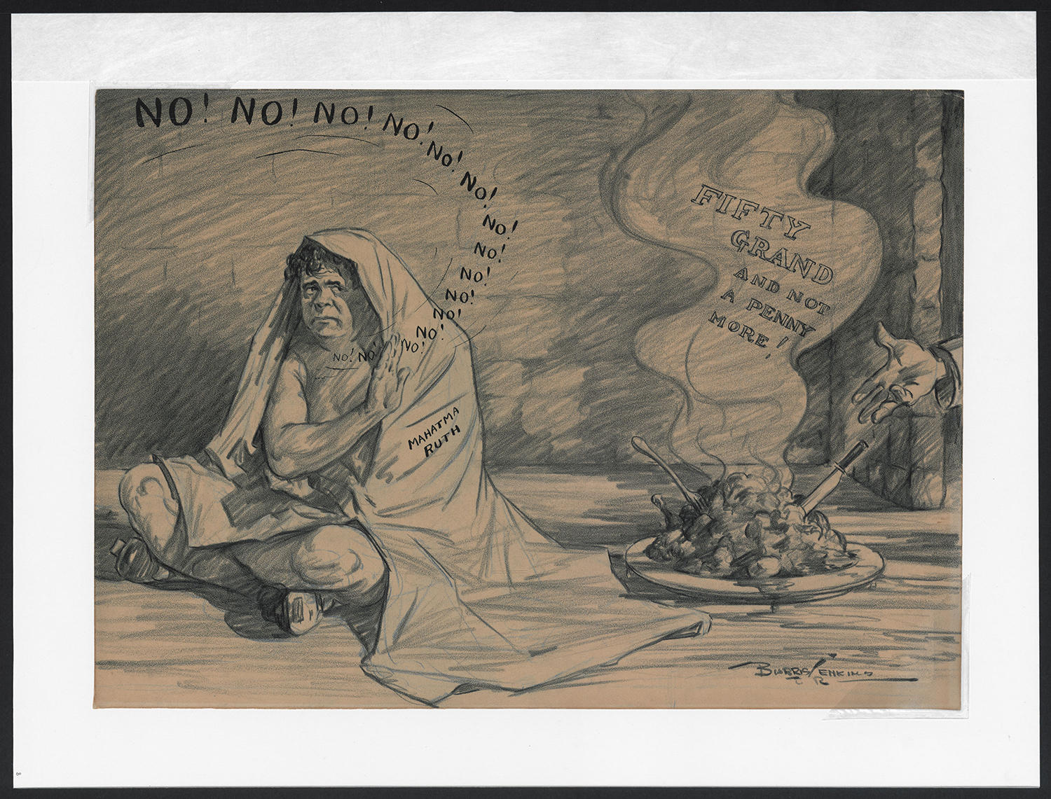 "In Burris Jenkins Jr.'s cartoon <a href=""http://collection.baseballhall.org/islandora/object/islandora%3A273485"">Mahatma Ruth</a>, he portrays Babe Ruth as Mahatma Gandhi, ""fasting"" for a larger salary. (National Baseball Hall of Fame)"