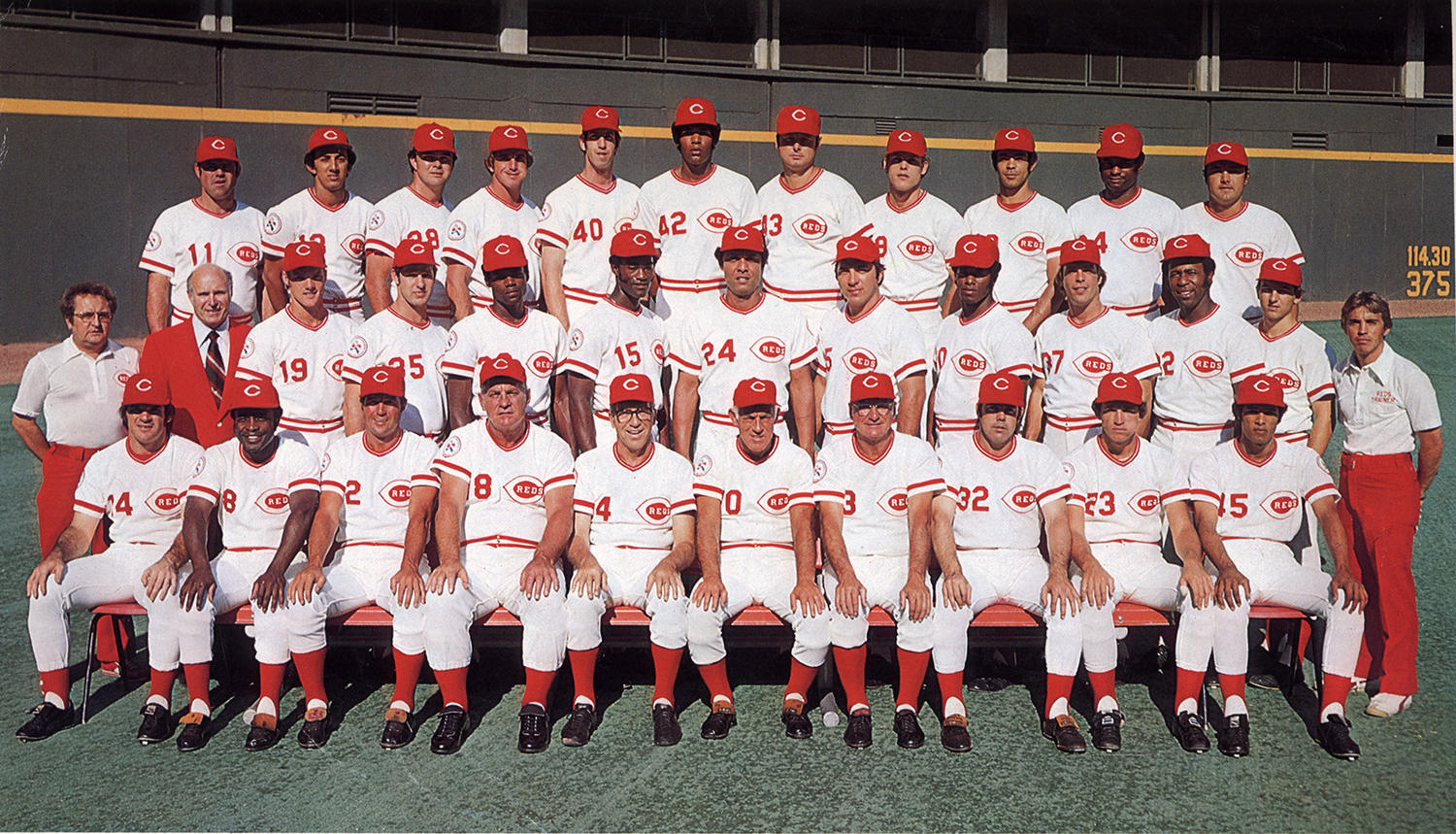 As a member of the 1975 Cincinnati Reds, César Gerónimo earned his second World Series ring with the team. He is pictured above in the top row, third from the right. (National Baseball Hall of Fame and Museum)