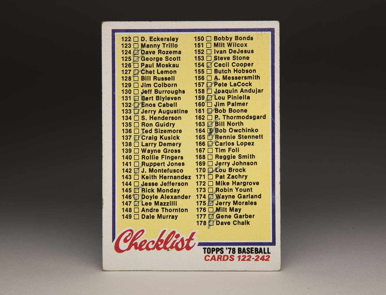 "Topps began putting out ""checklist"" cards like this one from 1978, pictured above, in 1956. (Milo Stewart Jr. / National Baseball Hall of Fame and Museum)"