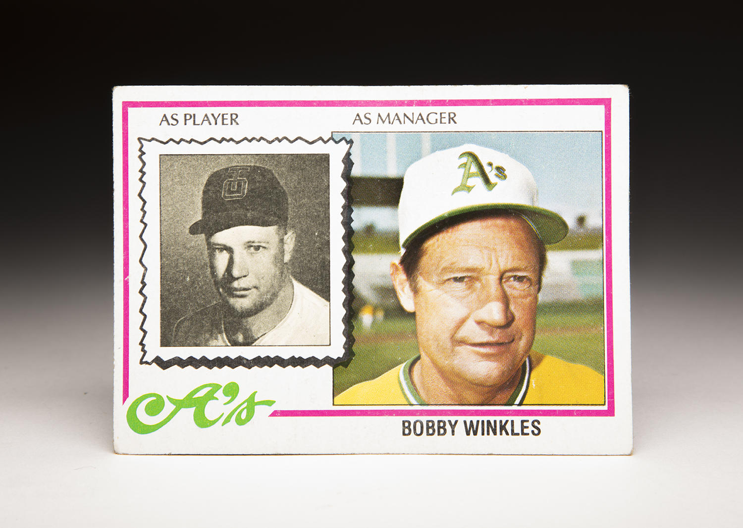 Bobby Winkles' 1978 Topps Manager card featured both current images of him as the Athletics' manager as well as a photo from his playing days for the Tulsa Oilers. (Milo Stewart Jr. / National Baseball Hall of Fame and Museum)