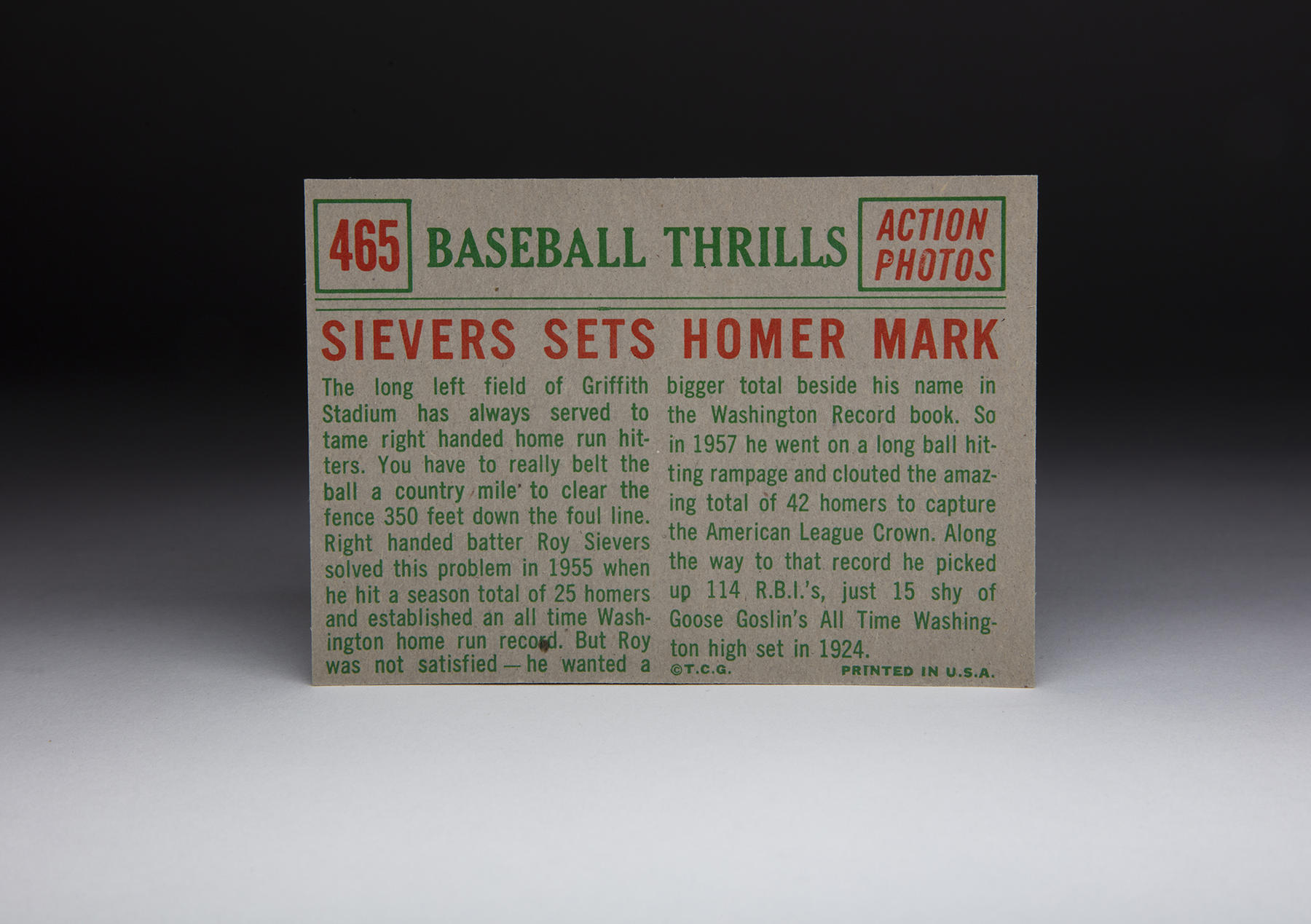 The reverse of Topps' 1959 Roy Sievers card. (Milo Stewart Jr./National Baseball Hall of Fame and Museum)