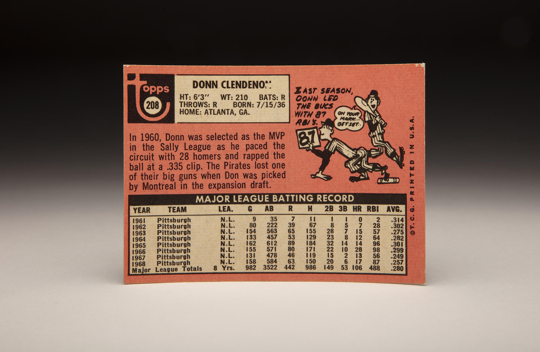 The reverse of the Expos version of Topps 1969 Donn Clendenon card notes that he was drafted by Montreal in the expansion draft. (Milo Stewart Jr./National Baseball Hall of Fame and Museum)