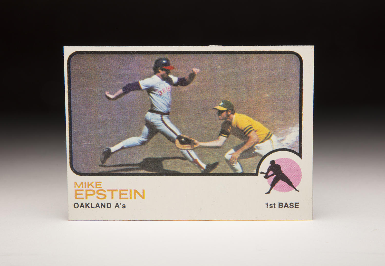 Mike Epstein's 1973 Topps card was shot in 1972, and features Angels center fielder Ken Berry running to first base. (Milo Stewart Jr./National Baseball Hall of Fame and Museum)