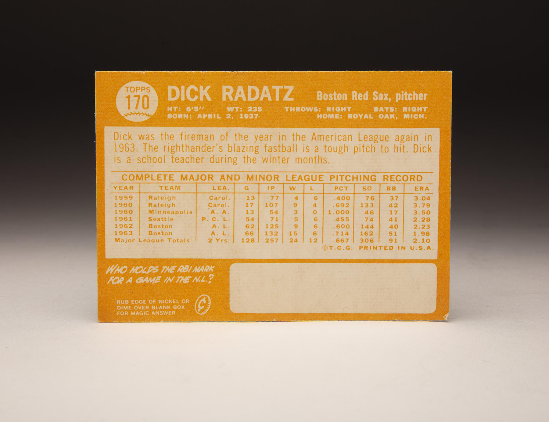 The reverse of Dick Radatz's 1964 Topps card. (Milo Stewart Jr./National Baseball Hall of Fame and Museum)