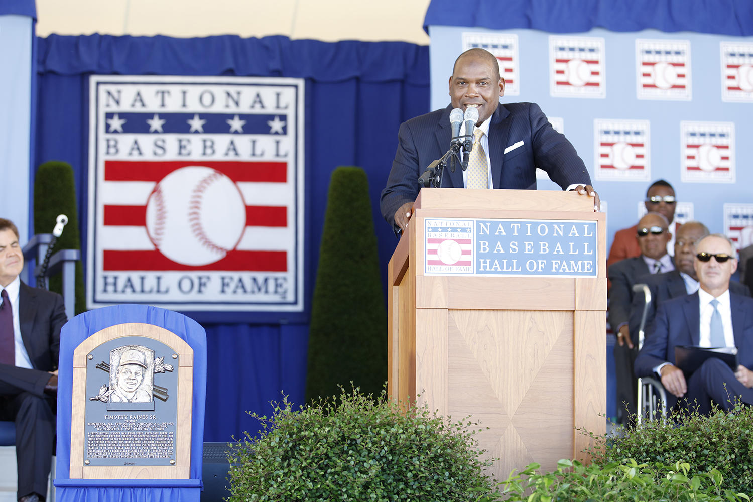 Tim Raines reflected on his career and family during Sunday's <em>Induction Ceremony</em>. (Milo Stewart Jr. / National Baseball Hall of Fame and Museum)