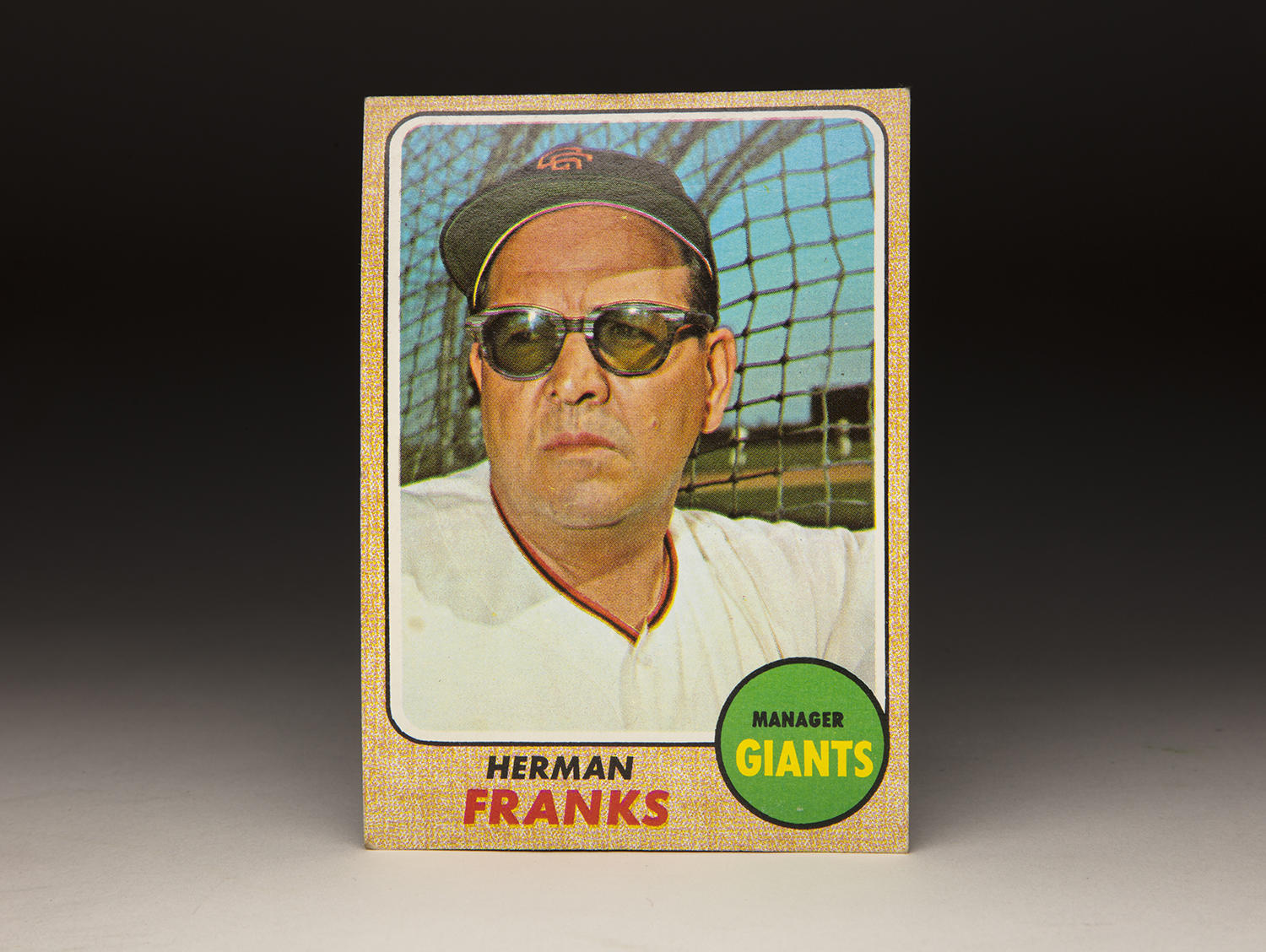 Although cards that show ballplayers or managers wearing sunglasses are rare, Herman Franks' 1968 Topps card provides an example of such. (Milo Stewart Jr./National Baseball Hall of Fame and Museum)