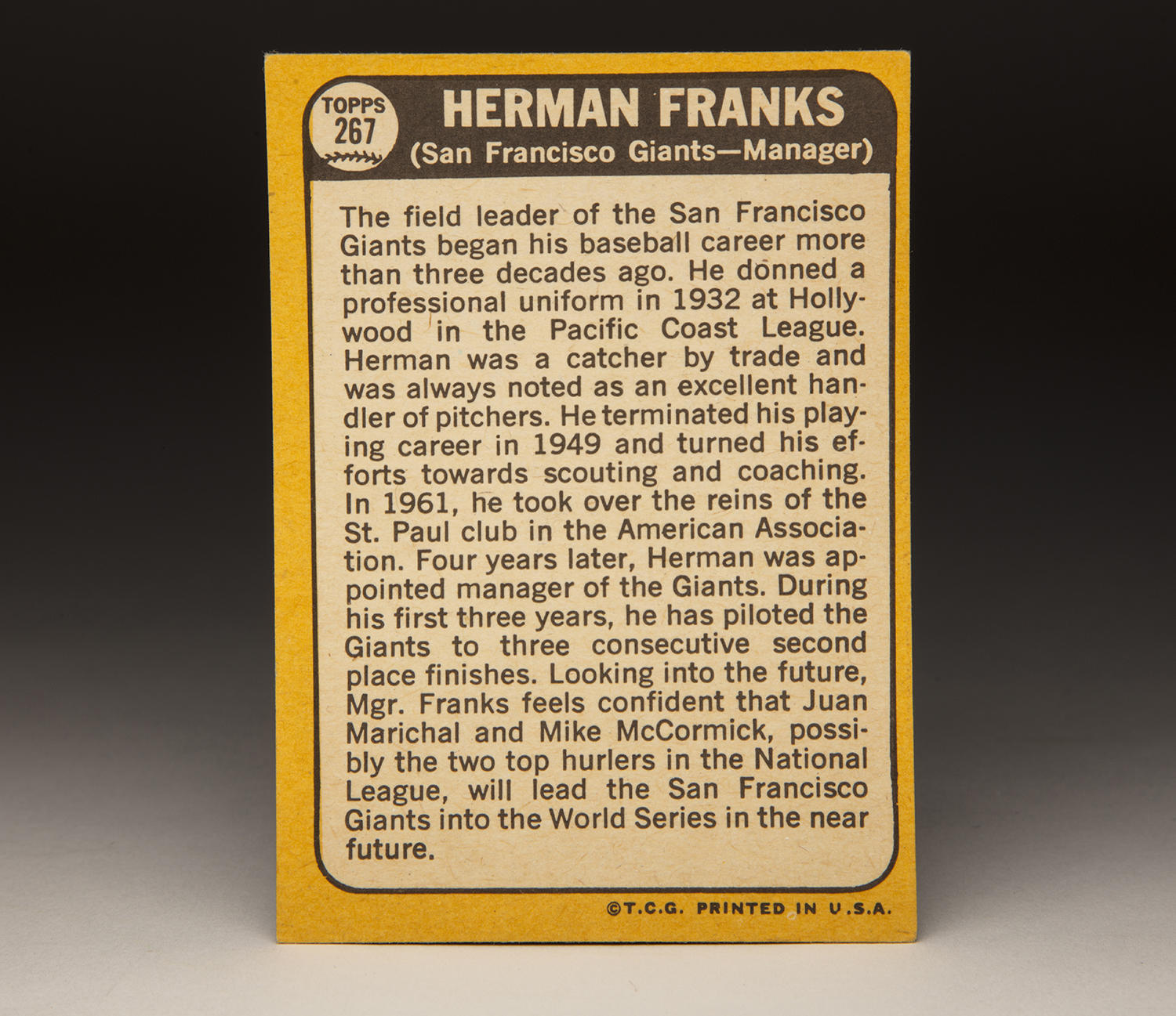 The reverse side of Herman Franks' 1968 Topps card. (Milo Stewart Jr./National Baseball Hall of Fame and Museum)