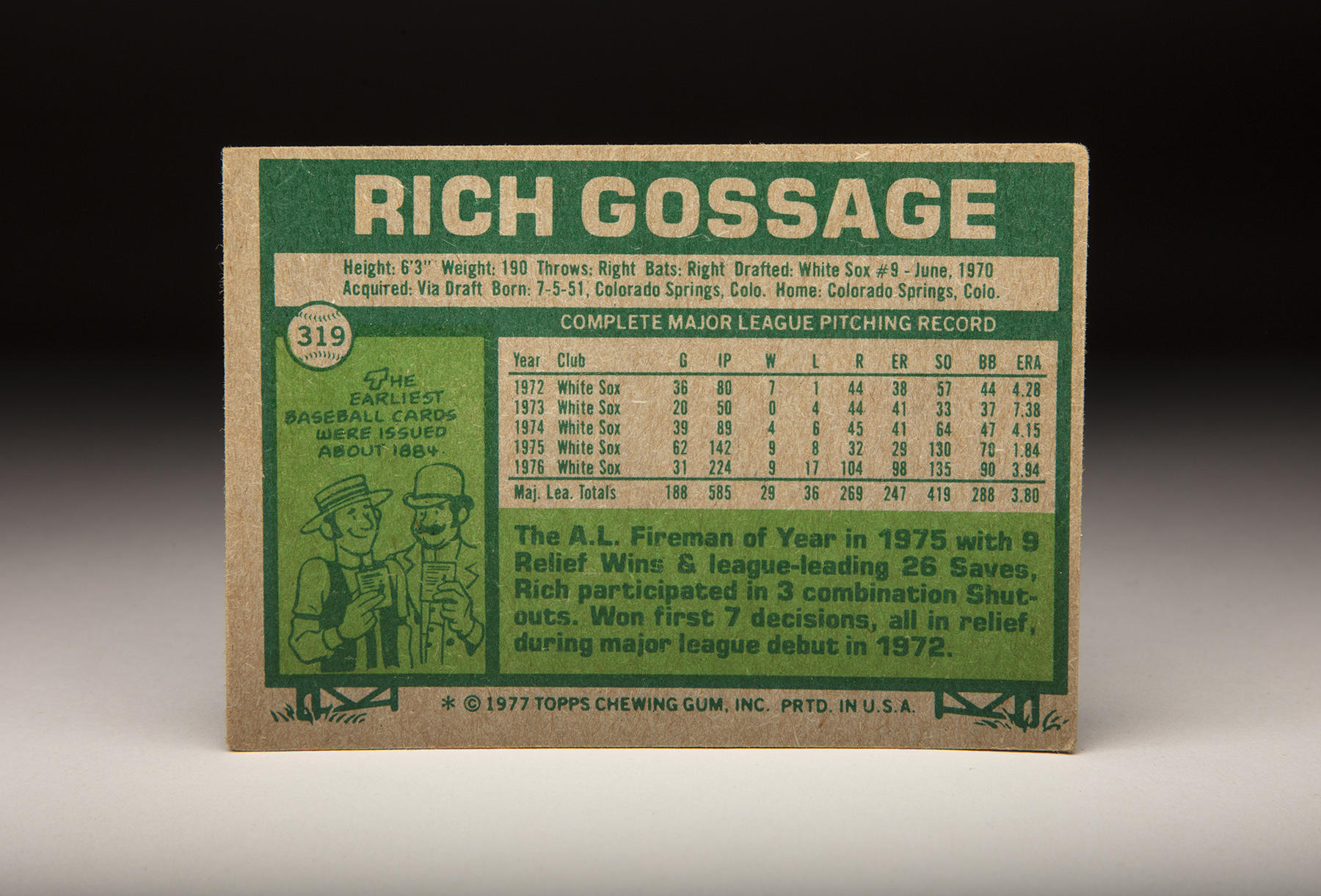 The reverse of Topps' 1977 Rich Gossage card features the Hall of Famer's statistics, along with a fact about the history of baseball cards. (Milo Stewart Jr./National Baseball Hall of Fame and Museum)