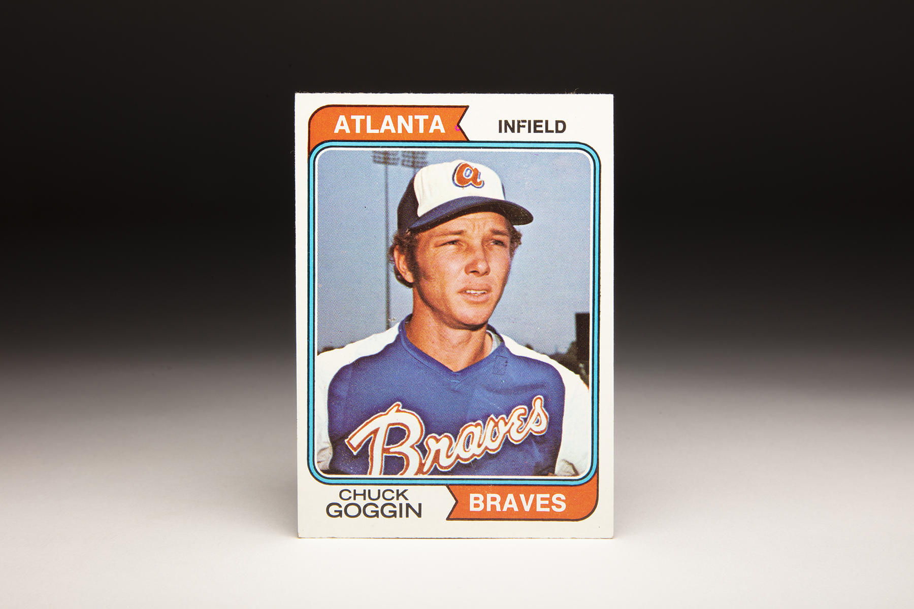This 1974 Topps Chuck Goggin card is the only card Topps ever produced featuring Goggin, and includes the Atlanta Braves' new colors of that era. (Milo Stewart Jr./National Baseball Hall of Fame and Museum)