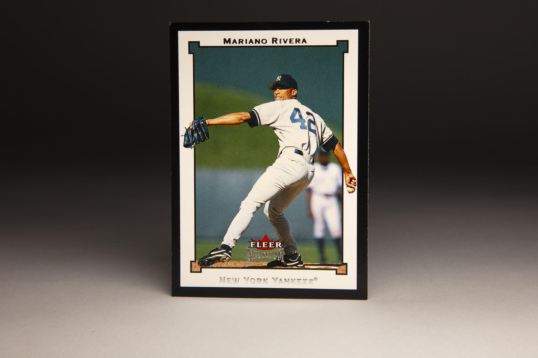 """The front of Fleer's 2002 Mariano Rivera card, which Fleer included in its """"Premium"""" set. (Milo Stewart Jr./National Baseball Hall of Fame and Museum)"""