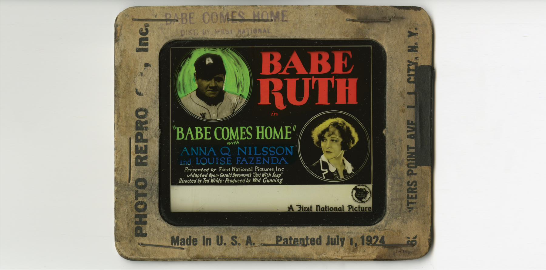 "Advertising lantern slide for ""Babe Comes Home."" (National Baseball Hall of Fame)"