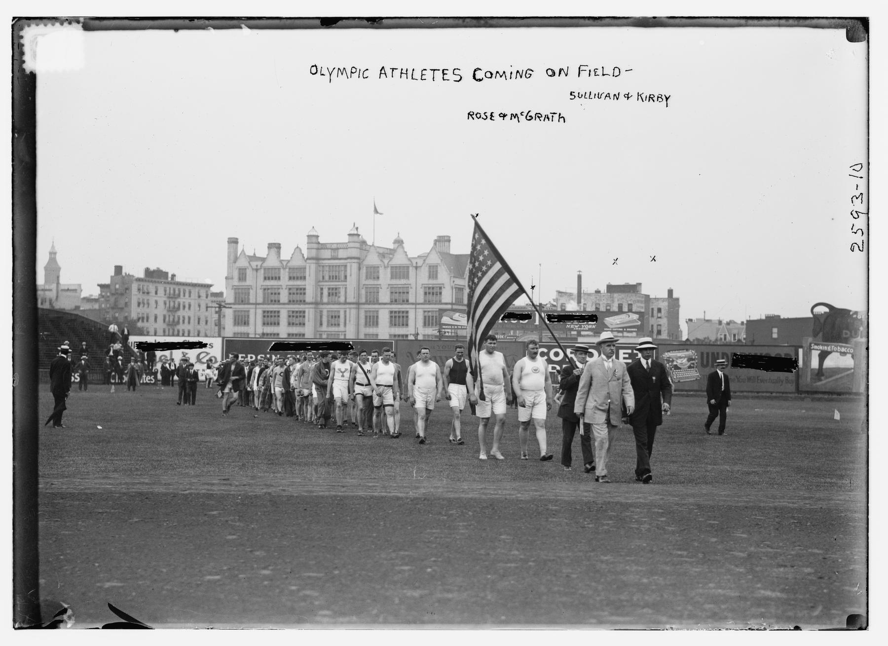 Olympic athletes from the United States coming onto an unidentified field. (Library of Congress)