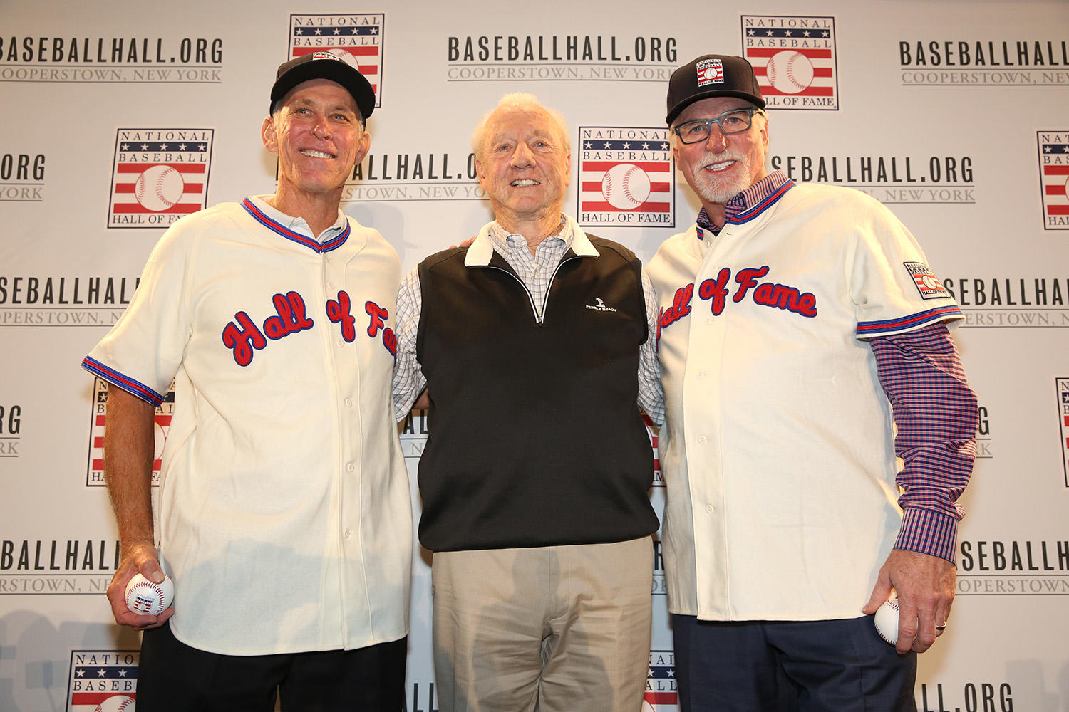 Alan Trammell and Jack Morris pose with fellow Hall of Famer Al Kaline (center) following the Modern Baseball Era electee press conference. (Alex Trautwig/MLB Photos)