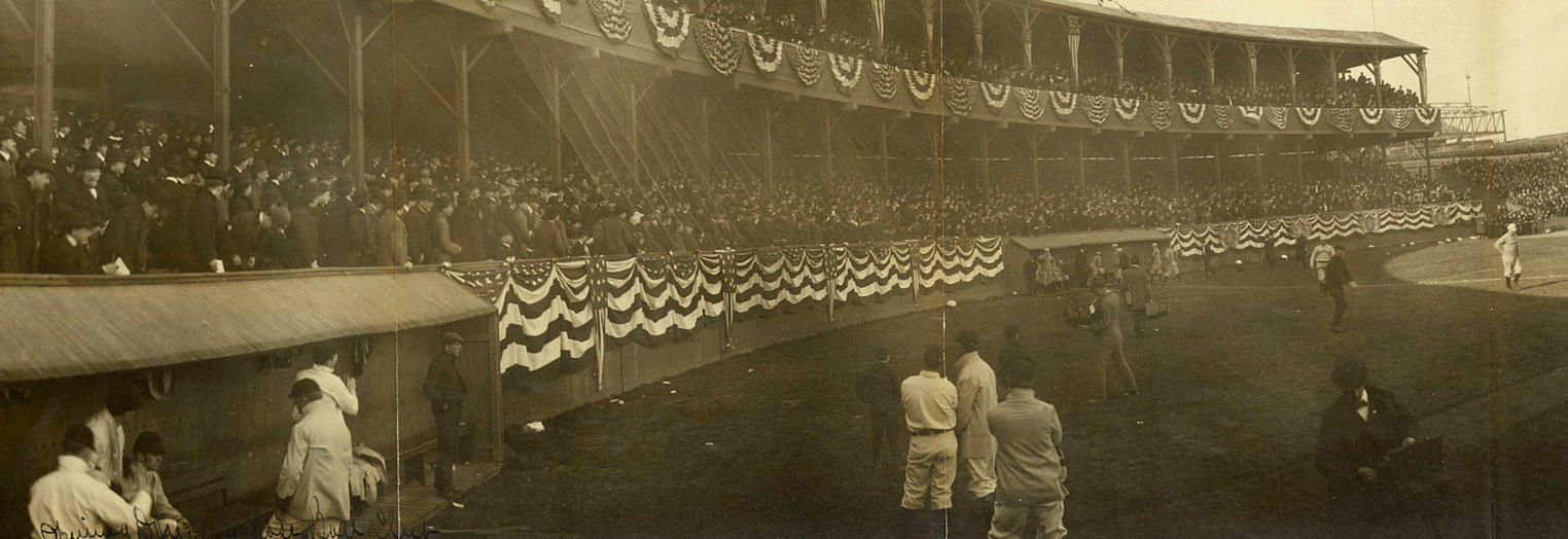 Opening days like this one at the Polo Grounds have been a community tradition for well over a century. (B. J. Falk/Library of Congress)