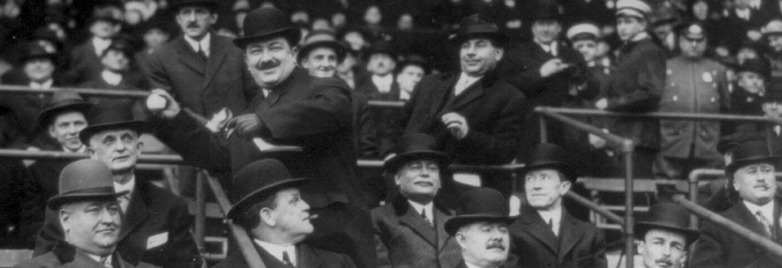 Political figures have long used baseball games as an opportunity to meet and sit among their constituents. (George Grantham Bain/Library of Congress)