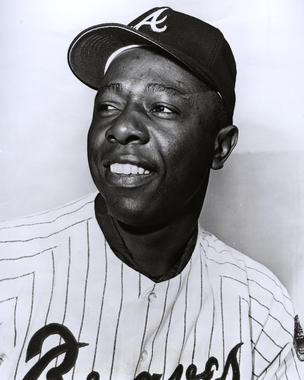 The Braves moved Hank Aaron (above) to first base in 1972 to accommodate both Ralph Garr and Dusty Baker in the outfield. (National Baseball Hall of Fame and Museum)