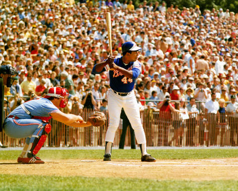Hank Aaron bats during the Hall of Fame Game at Doubleday Field on Aug. 12, 1974. The catcher is Pete Varney of the White Sox. (National Baseball Hall of Fame and Museum)