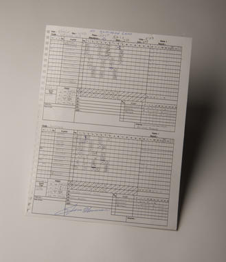 """Picture of the game's official scorecard which reads """"No Admission Game"""" at the top and marks the attendance as """"0."""
