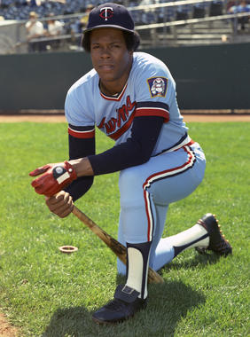 Rod Carew captured national attention in 1977 when he chased the .400 mark. Carew finished the season hitting .388. (Doug McWilliams/National Baseball Hall of Fame and Museum)