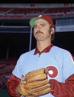 Steve Carlton, pictured above, was a teammate of John Denny's on the Phillies. Carlton helped Denny harness his talent, leading to Denny winning the 1983 NL Cy Young Award. (Doug McWilliams / National Baseball Hall of Fame)