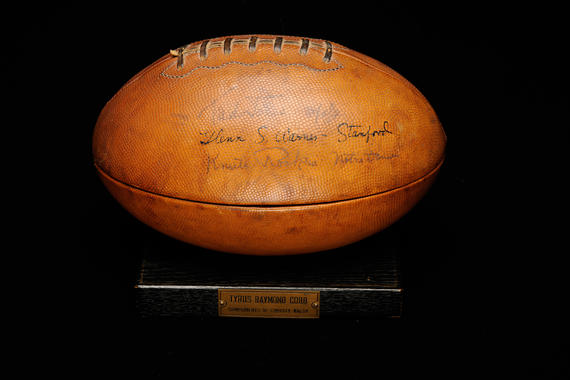 This cigar holder made from a football was autographed by Knute Rockne, among others, and given to Ty Cobb by promoter Christy Walsh. (Milo Stewart, Jr. / National Baseball Hall of Fame)
