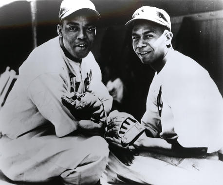 Larry Doby (right) pictured with fellow future Hall of Famer Monte Irvin while they were playing on the Negro Leagues' Newark Eagles. (National Baseball Hall of Fame and Museum)