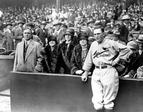 Cardinals owner Sam Breadon, left, named second baseman Rogers Hornsby as the team's manager on May 30, 1925. (National Baseball Hall of Fame and Museum)