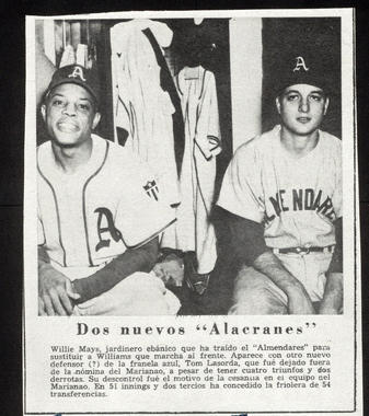 A Cuban newspaper clipping shows future Hall of Famers Willie Mays and Tommy Lasorda as teammates for Almendares during the 1950-51 Cuban Winter League season. B-24-2009-6 (National Baseball Hall of Fame Library)