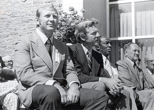 Mickey Mantle (far left) was inducted into the National Baseball Hall of Fame in 1974, five years after he retired. (National Baseball Hall of Fame)