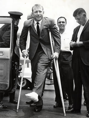 Mickey Mantle, pictured above, was plagued by leg injuries throughout his career. (National Baseball Hall of Fame)