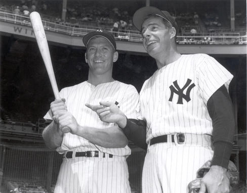 Mickey Mantle (left) replaced Joe DiMaggio in centerfield following the 1951 season. (National Baseball Hall of Fame)