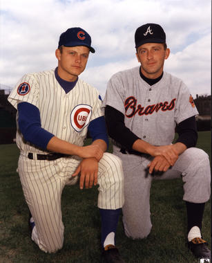 Brothers Joe (left) and Phil Niekro squared off against one another on July 4, 1967 in a game won by Phil's Atlanta Braves against the Chicago Cubs, 8-3. The Niekro brothers would face each other nine times in their career, with Joe's team winning five. They hold the record for most combined wins by siblings in a career with 539. BL-1598-92 (National Baseball Hall of Fame Library)