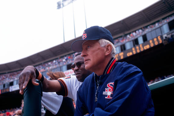 Phil Niekro managed the Colorado Silver Bullets baseball team from 1994-97. (Brad Mangin/National Baseball Hall of Fame and Museum)